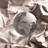 Globus erdball geo glas kristal 張り子リサイクル zerknittert — ストック写真