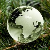 Globus erdball geo karte glas kristal weihnachten tanne — Stock Photo