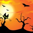 Halloween cat, trees and bats on the orange sky — Векторная иллюстрация