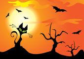 Halloween cat, trees and bats on the orange sky — Stock Vector