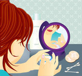 Young woman with cream in the mirror — Vector de stock