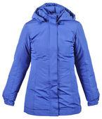 Blue female jacket with hood — Stock Photo