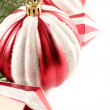 Foto Stock: Red Christmas ornaments border