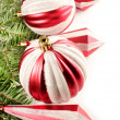 Red Christmas ornaments border — Stock Photo