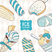 The card with ice creams — Vector de stock