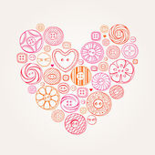 Valentine Heart of Buttons — Stock Vector