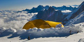Tete rousse shelter in alps mountainas france — Stock Photo