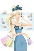 Blonde girl shopping — Stock Vector