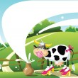 Stock Vector: Funny cow on a summer landscape. milk