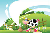 Funny cow on a summer landscape. milk — Stock Vector