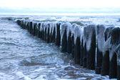 Ice on the breakwater — Stock Photo