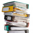 The pile of file binder with papers - Stock Photo