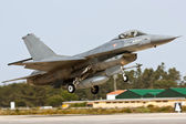 MONTE REAL, PORTUGAL-APRIL 7: F16 Portuguese taking off. Participating in R — Stock Photo