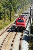 Last train passerar med några godsvagnar, i portugal — Stockfoto