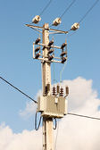 Medium Voltage Pylon with Transformer — Foto Stock