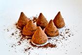 Truffle in cocoa to powder — Stock Photo