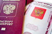 Cover and the opened passport — Stock Photo