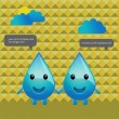 Character design water drops conversation — Stock Vector