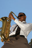 Hip Young Saxophonist — Stock Photo