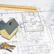House Blueprints - Stock Photo