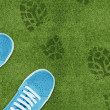 Shoe print on green grassland - Stock Photo