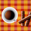 Background including Cup of tea and cookies and chocolate bars — 图库照片