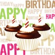 Greeting card from chocolate Birthday cupcake with candle and cr — Stock Photo #7753286
