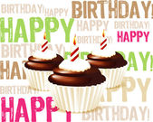 Greeting card from chocolate Birthday cupcake with candle and cr — Stock Photo