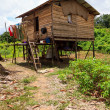 Long house of the Iban tribe — Stock Photo