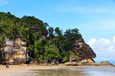 Wiszącą skałą na plaży — Zdjęcie stockowe