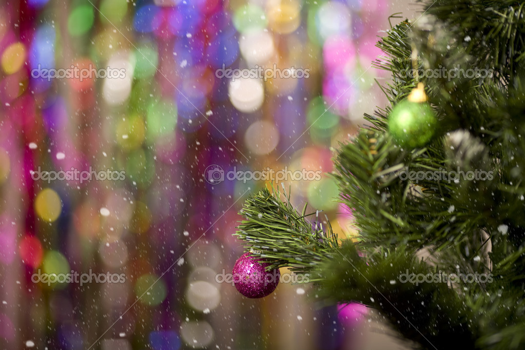Christmas tree with balls on bright colourful background  Foto de Stock   #7305296