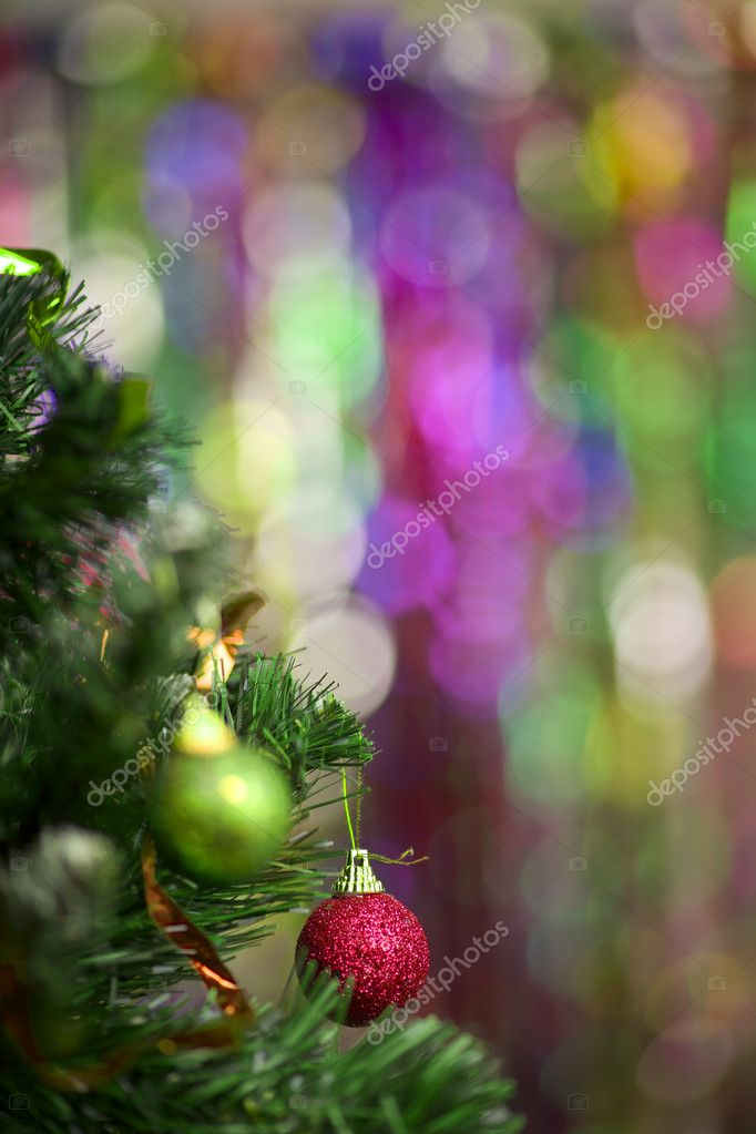 Christmas tree with balls on bright colourful background — Stock Photo #7305297