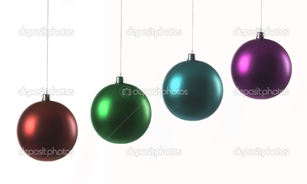 Decorative glass balls for a new year tree isolated on white background — Stock Photo #7305300