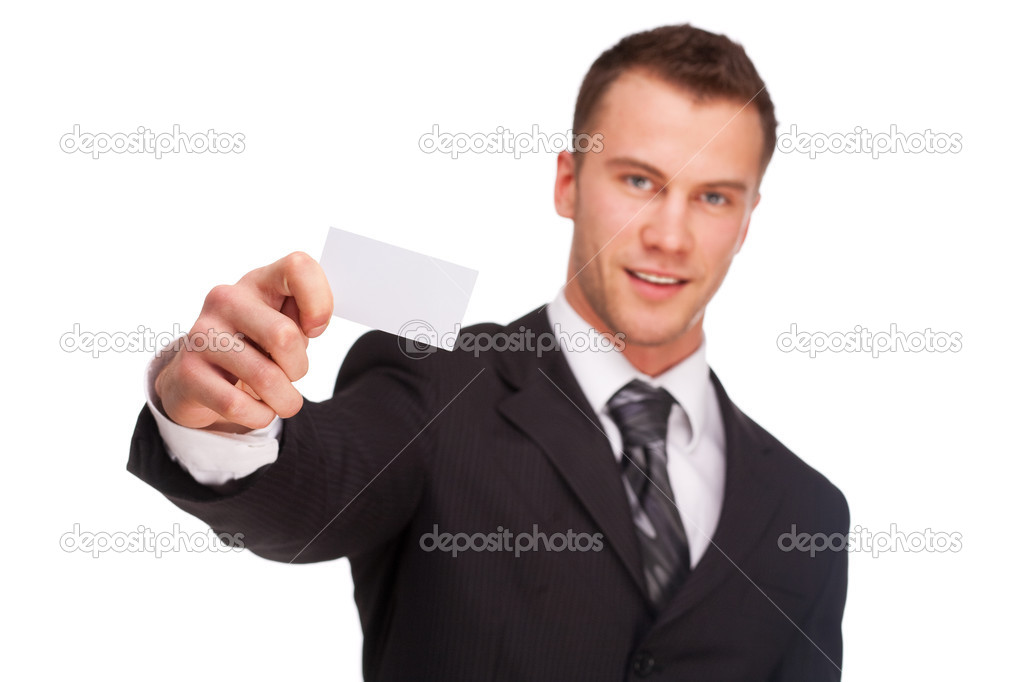 Portrait of a business man with blank card isolated on white background. Studio shot. — Stock Photo #7552545