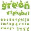 Stockfoto: Green floral alphabet