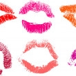 Red lipstick marks - Stock Photo