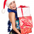 Portrait of attractive young woman with presents — Stock Photo
