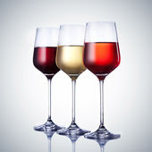 Three wine glass with clipping path — Stock Photo