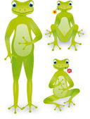 Frogs with flower, up, sat and in tailor — Stock Vector
