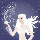 Chica hermosa rubia invierno — Vector de stock