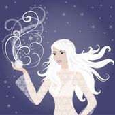 Fille hiver blonde belle — Vecteur