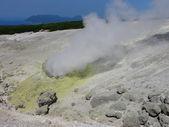 The fumarole field of Mendeleev's volcano — Stock Photo