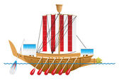 Ancient Egyptian warship. — Stock Vector