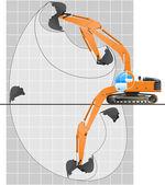 Working range of an excavator. — Stock Vector
