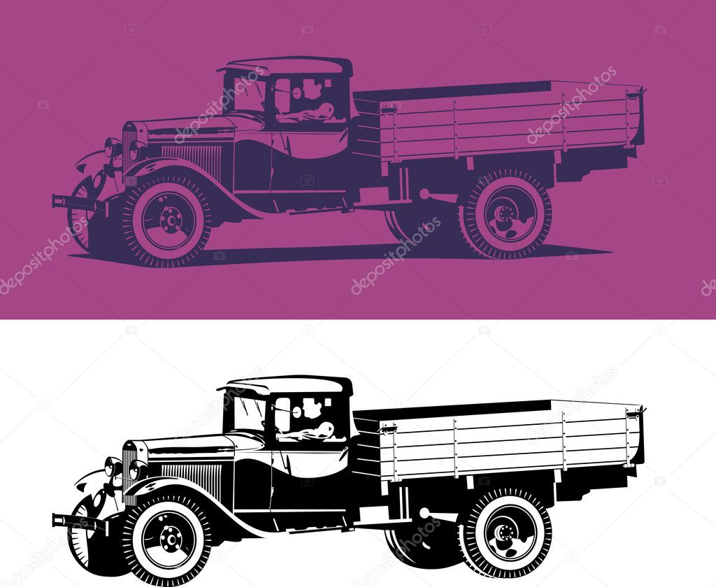 Vector retro lorry isolated on white and pink.  — Stock Vector #7313766