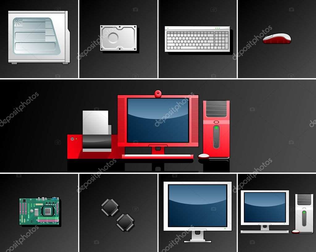 Vector illustration on Computer Technologies(Simple gradients only - no gradient mesh). — Stock Vector #7336596