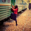 Royalty-Free Stock Photo: Girl in train