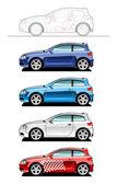 Hatchback(three door) — Stock Vector