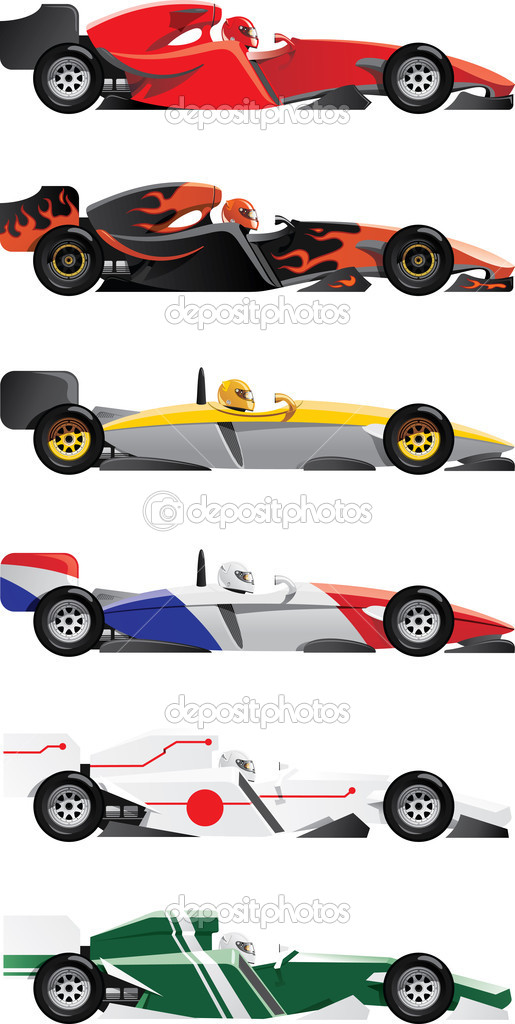 Vector illustration of  formula 1. six sports racing car  (three different models and six colorings) — Stock Vector #7556534