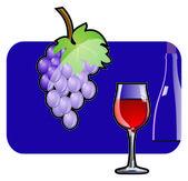 La viña y el vino. — Vector de stock